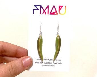 Eucalyptus leaf dangle earrings stainless steel  australian gift