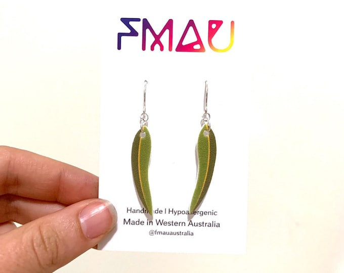 Eucalyptus leaf dangle earrings stainless steel free shipping australian gift