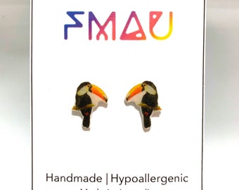 Toucan handmade hypoallergenic stud earrings  gift bird tropical