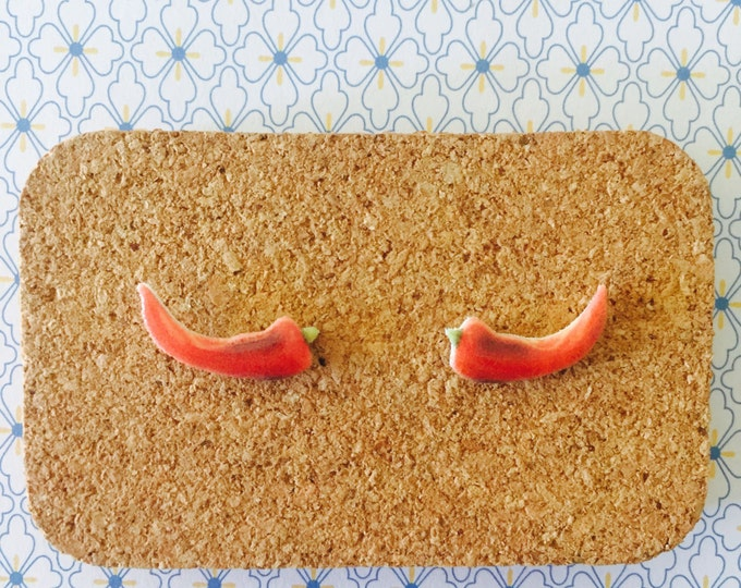 Chilli pepper handmade hypoallergenic stud earrings gift for her free shipping hot food spice