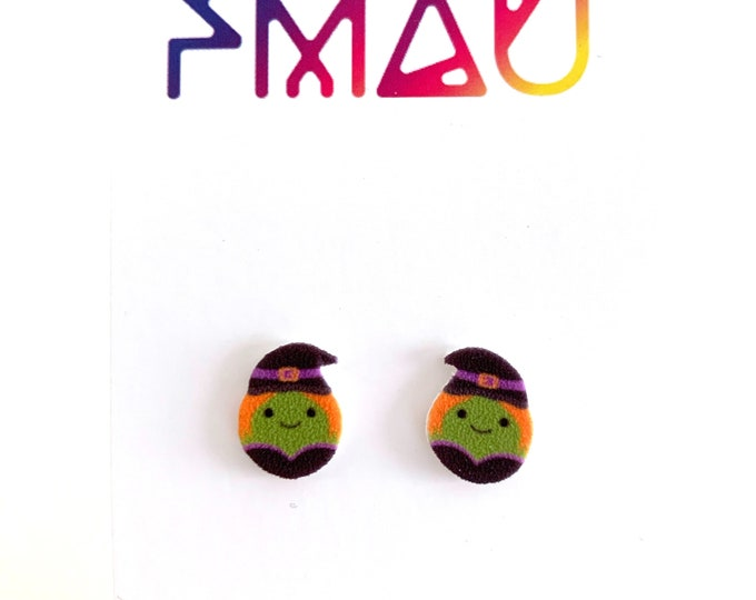 Cute spooky witch Halloween handmade stud earring hypoallergenic girl gift