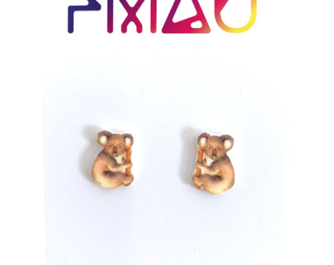 Watercolour koala handmade hypoallergenic stud earrings girl gift australian Australiana cute