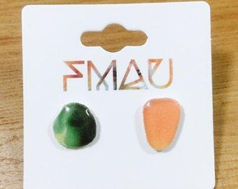 SALE Pea and corn handmade hypoallergenic mini food earrings jewelry jewellery gift idea girl cute fun dinner  free shipping international