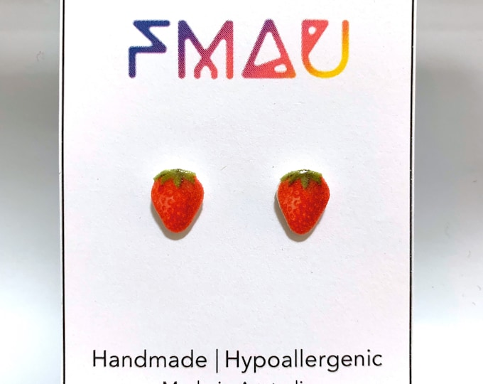 Strawberry handmade hypoallergenic stud earrings girl gift strawberries food fruit christmas