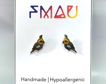 Cockatiel handmade hypoallergenic stud earrings  bird cute gift