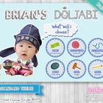 Custom Doljabi Board - Standard Theme /w Large Head Character - Korean First Birthday [DIGITAL FILE]
