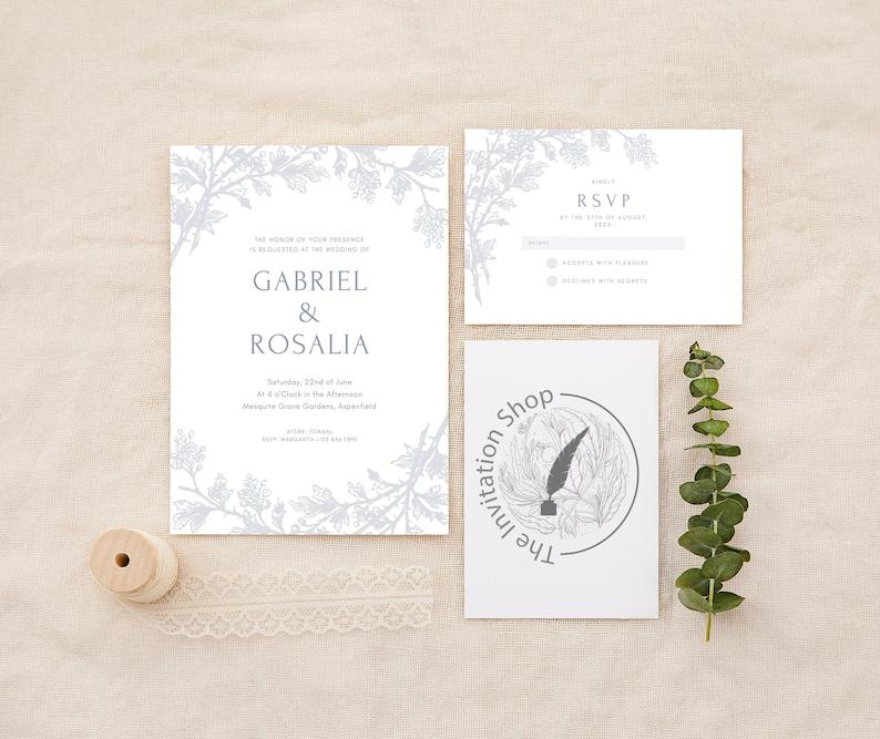 Printable Customizable Wedding Invitation suite digital download
