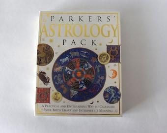 VINTAGE ENAMEL METAL TIN SIGN WALL PLAQUE Astrology Chart horoscopes Stars