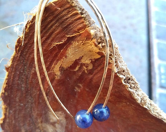 Hand hammered Gold filled and Lapis Earrings