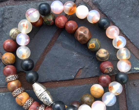Picasso Jasper or Flower Agate Hand Beaded Bracelet (sold separately)