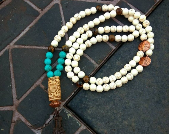 Turquoise,Copper and Tiger's Eye Hand Beaded Necklace