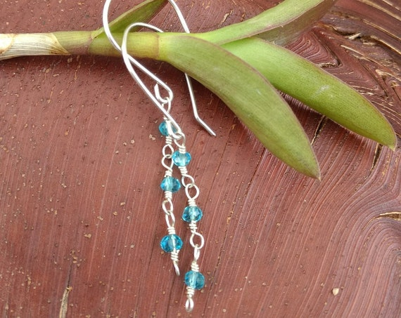 Hand Hammered Sterling Silver Blue Topaz Earrings