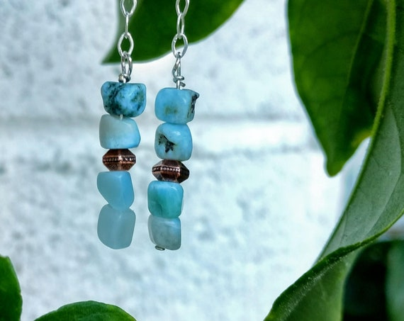 Sterling Silver and Larimar Earrings