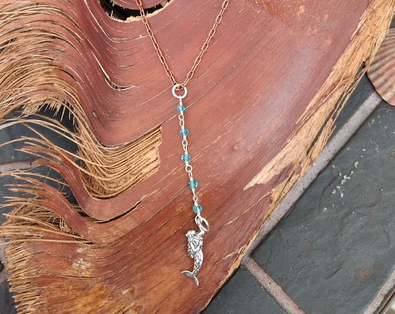 Sterling Silver Mermaid, Copper and Blue Topaz Necklace
