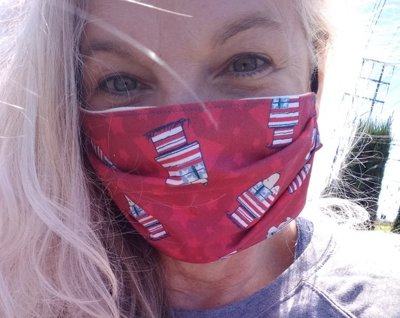 Patriotic Snoopy Cotton Adjustable Mask with Nosewire!
