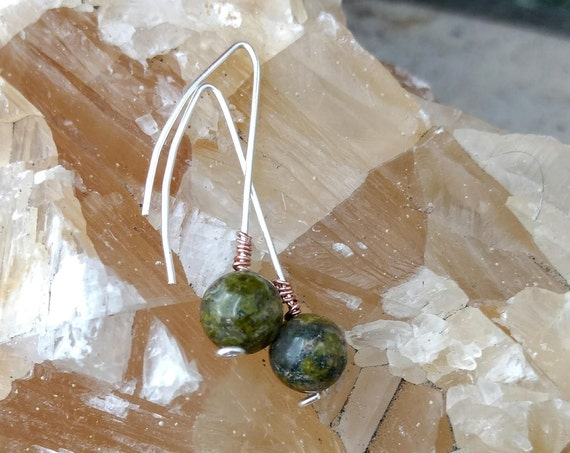 Sterling Silver, Green Jasper and Rose Gold Wrapped Earrings