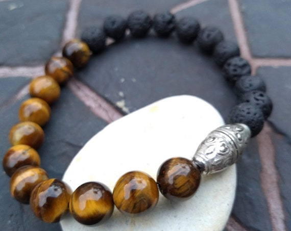 Black Lava and Tiger's Eye Handbeaded Bracelet