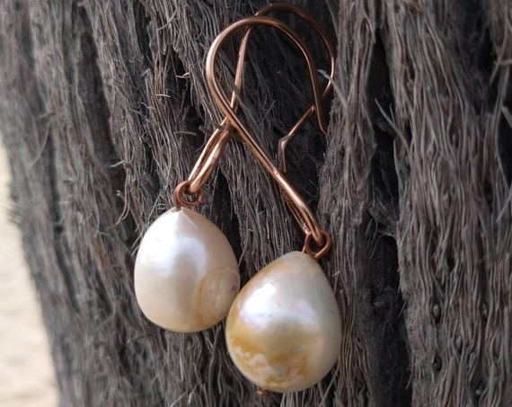 Hand Hammered Rose Gold and Pearl Earrings