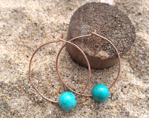 Hand Hammered RoseGold and Turquoise Earrings