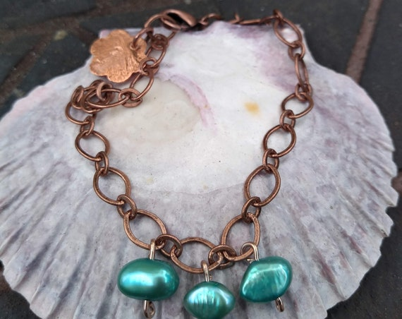 Copper and Freshwater Pearl Bracelet