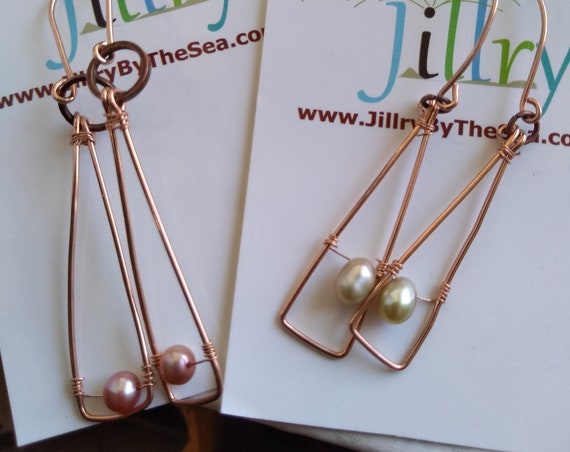 Rose Gold and Freshwater Pearl Earrings