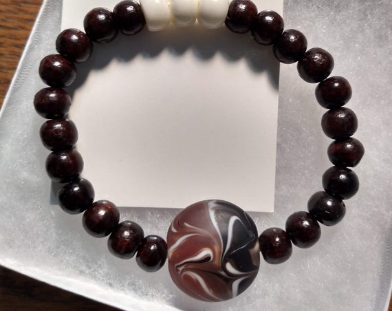 Hand Beaded Bracelet with Tibetan, Rosewood and Glass Beads