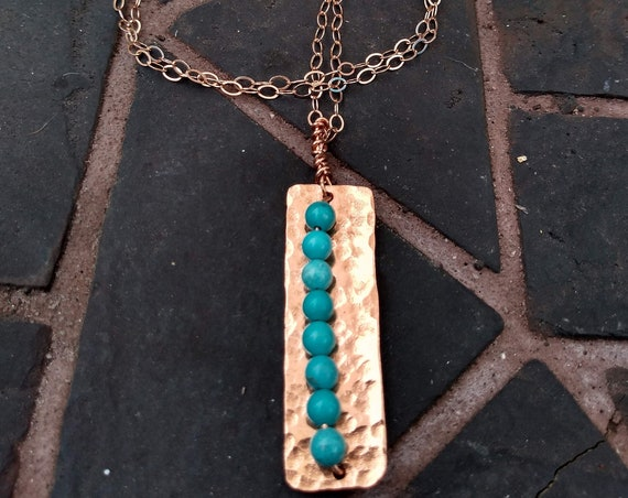 Hammered Copper and Turquoise Necklace with Rosegold Chain