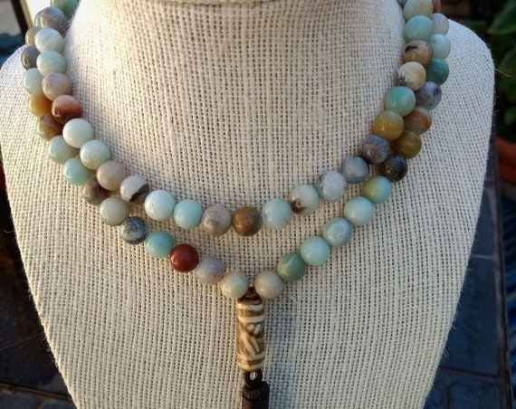 Hand Beaded Necklace with Agate and Indonesian Bead