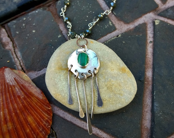 Sterling Silver Necklace with Vintage Malachite Pendant