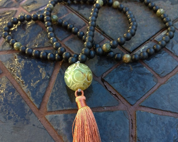 Hand Beaded Necklace with Agate and Carved Jade