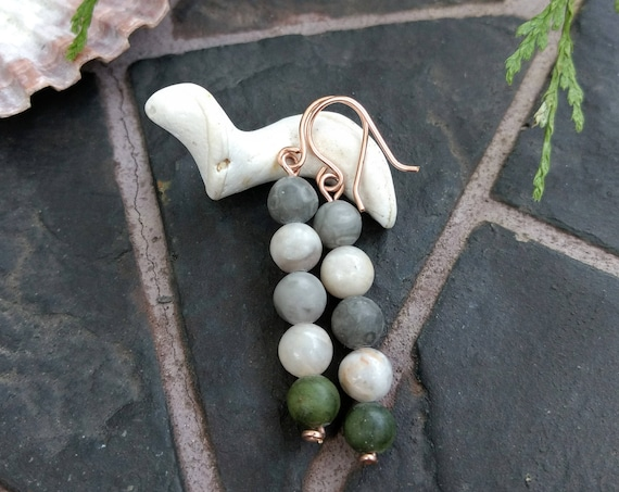 Mixed stone and Rose gold Earrings