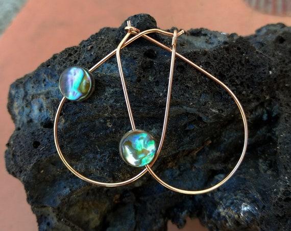 Handmade Abalone and Rose Gold Earrings