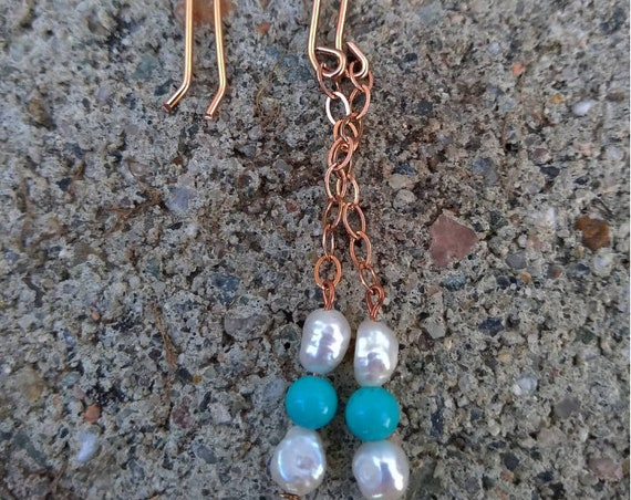 Rose Gold Filled and Freshwater Pearl and Turquoise Earrings