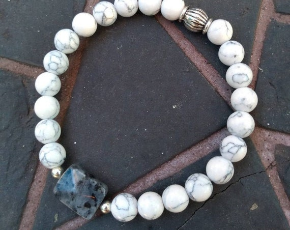 Hand Beaded White Howlite Bracelet