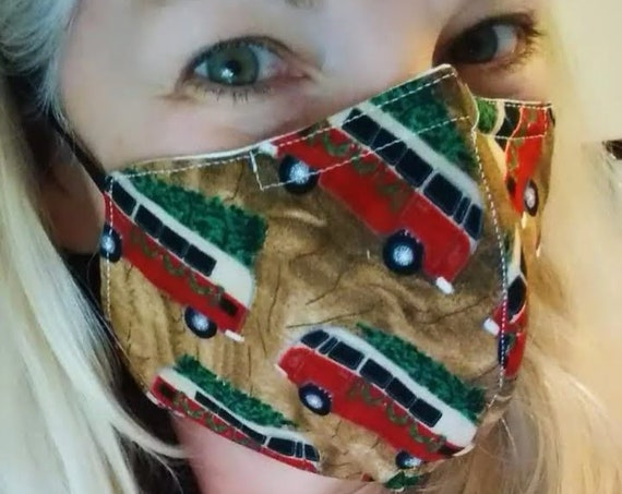VW Camper with Christmas Tree Fitted Cotton Adjustable Washable Mask with Nosewire