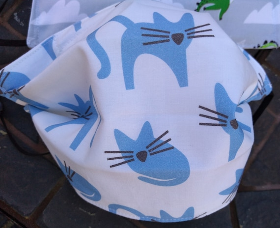 Blue Kitty Cat Adustable Handsewn Cotton Washable Mask with Nosewire