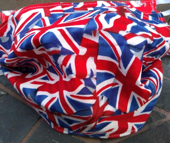 Union Jack Flag Adjustable Handsewn Cotton Washable Mask with Nosewire