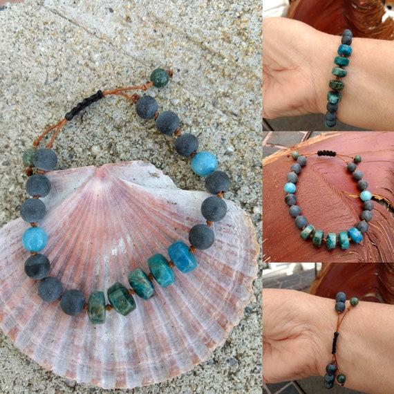 Apatite, Jade and Gray Stone Hand beaded Bracelet