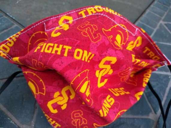 USC Trojans Adjustable Handsewn Cotton Washable Mask with Nosewire