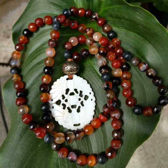 Agate and Carved Butterflies Hand Beaded 108 Bead Necklace