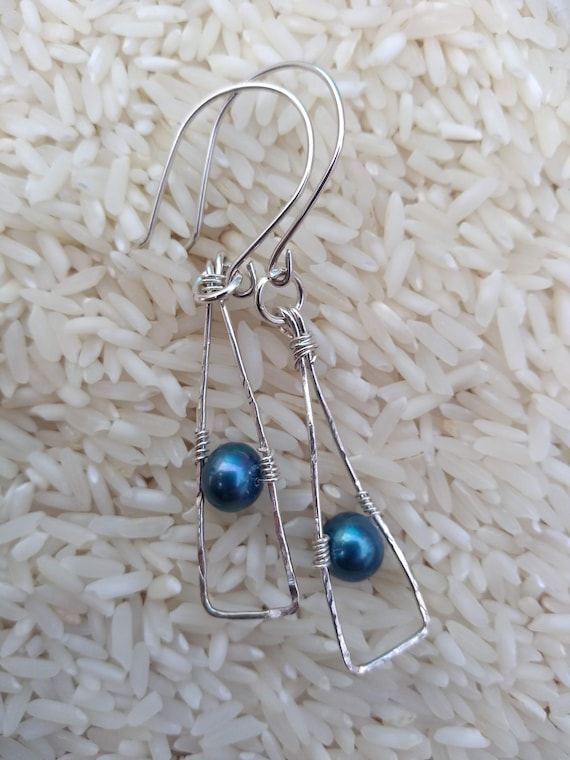 Hand Hammered Sterling Silver Pearl Earrings