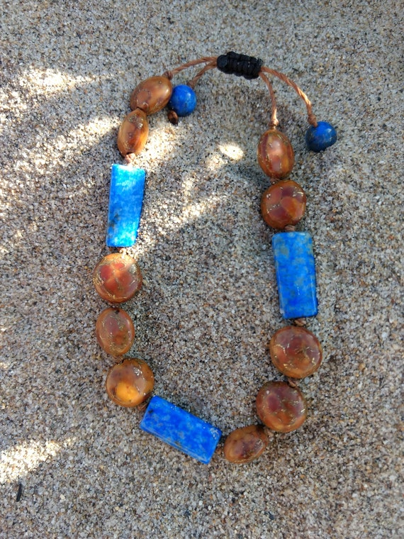 Hand Beaded Bracelet with Brown Turquoise and Afghan Lapis