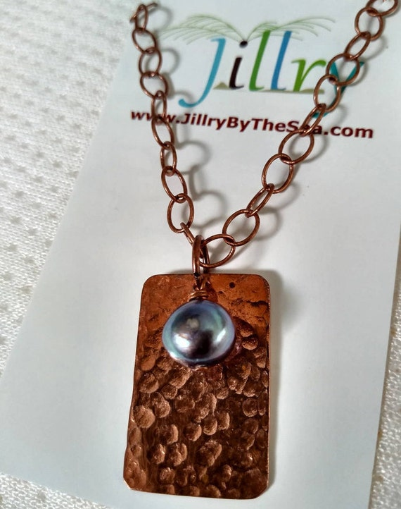Hammered Copper and Pearl Necklace