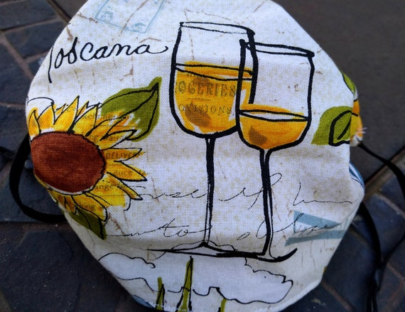 Beautiful Tuscan Sunflowers, Lemons and Wine Adjustable Handsewn Cotton Washable Mask with Nosewire!