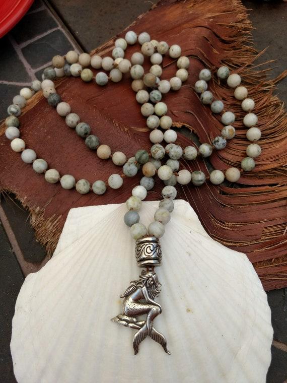 Mermaid Handknotted Stone Bead Mala Necklace