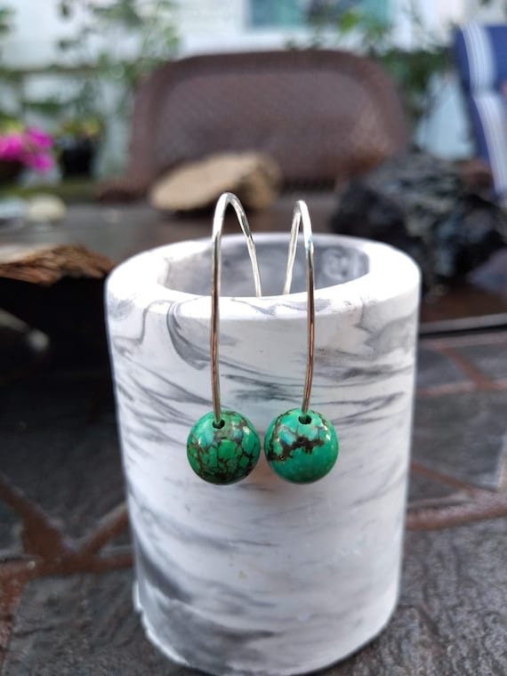 Sterling Silver and Green Turquoise Hand Hammered Earrings
