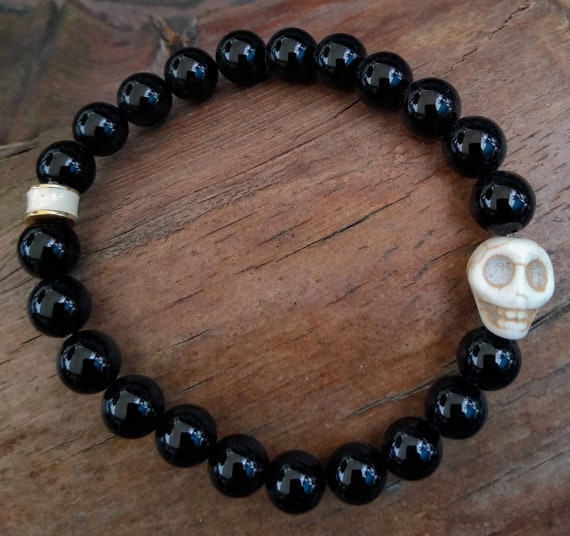 Hand Beaded Obsidian Bracelet with White Howlite Skull