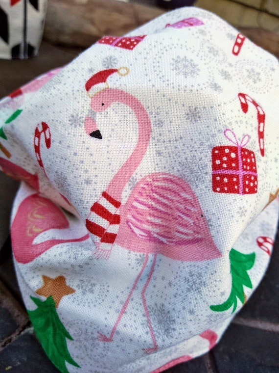 Flamingo With Santa Hat Christmas Handsewn Cotton Adjustable Washable Mask with Nosewire