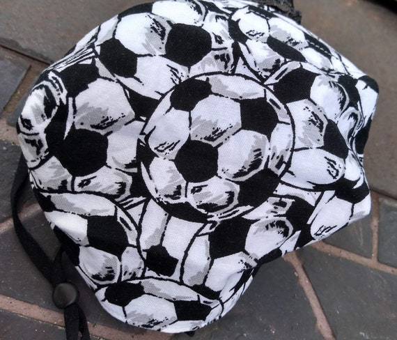 Soccer Adjustable Handsewn Cotton Washable Face Mask with Nosewire