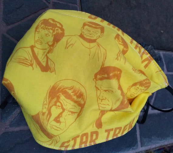 Star Trek Adjustable Handsewn Cotton Washable Mask with Nosewire!